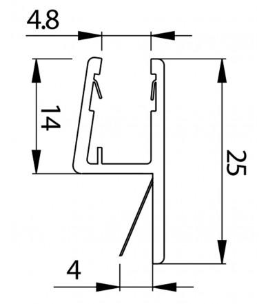 Profilo guarnizione battuta 180° per box doccia spessore vetro 6-8 mm, lunghezza 2200 mm 8PT8-45