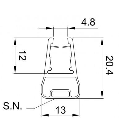 Profilo guarnizione magnetico 180° per box doccia spessore vetro 6-8 mm, lunghezza 2200 mm 8PT8-50