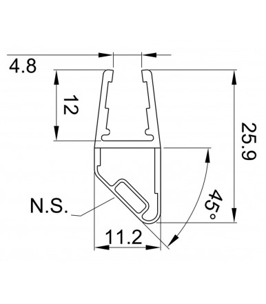 Profilo guarnizione magnetico per angolo 90°, Nord-Sud per box doccia spessore vetro 6-8 mm, lunghezza 2200 mm 8PT8-60/61