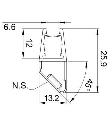 Profilo guarnizione magnetico per angolo 90°, Nord-Sud per box doccia spessore vetro 8-10 mm, lunghezza 2500 mm 8PT1-60/61