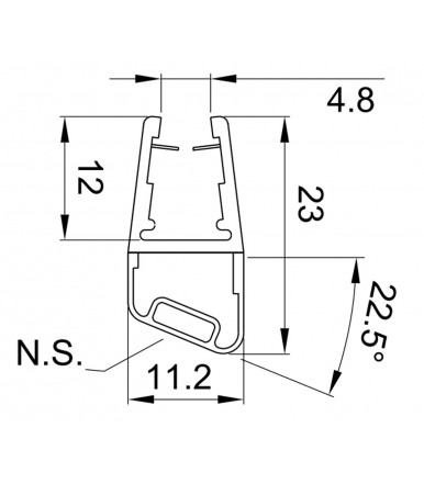 Profile-gasket magnetic for angle 135°, North-South for shower box, glass thickness 6-8 mm, length 2200 mm 8PT8-70/71
