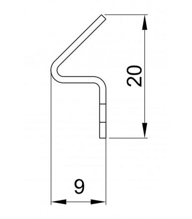 Perfil inox 8PI1-32 para utilizar con Perfil-cruce magnetico 8PT8-60/61, longitud 2200 mm