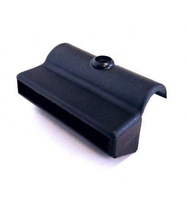 Supporto-giunto rettangolare in plastica nera GPL - Reggi asta legno 76x8 mm cf.10 pz.