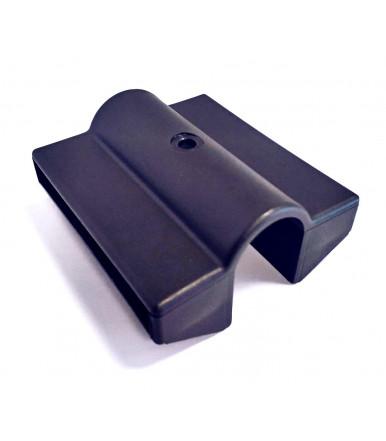 Supporto-giunto rettangolare doppio in plastica GPLD - Reggi asta legno 76x8 mm cf.10 pz.