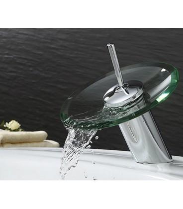 Rond robinet cascade monocommande en laiton chromé et verre ...