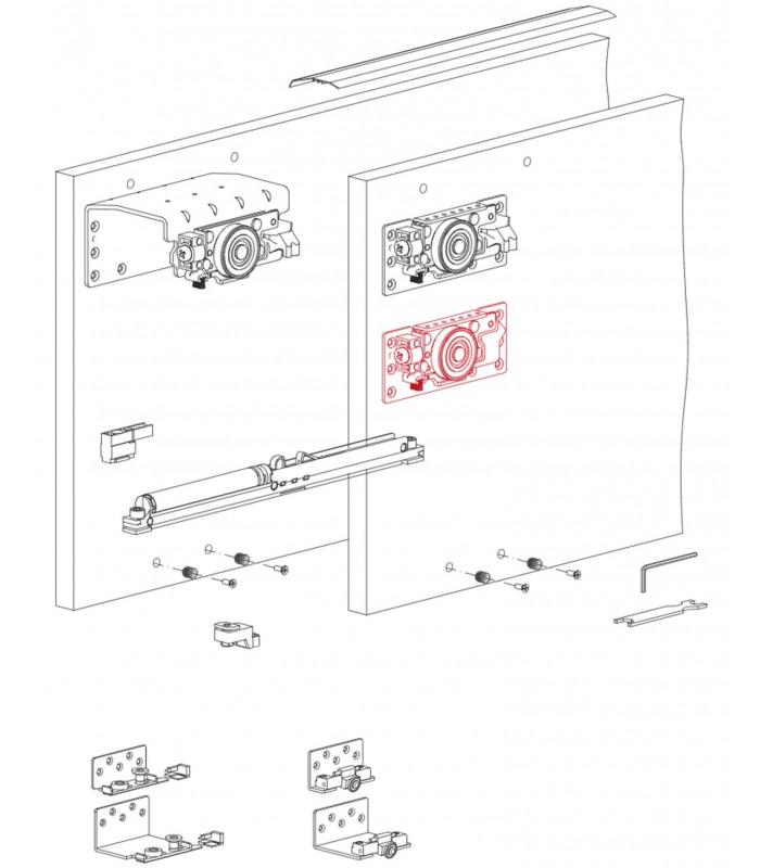 Kit Sistema scorrevole per armadio a 3 ante sovrapposte ...