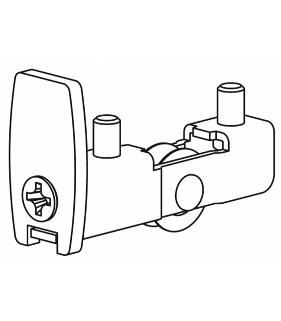Lower carriage delrin wheel for glass-front cabinets Series 1600, Art. 1606