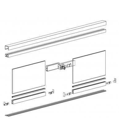 Guarnitura vetrina scorrevole per 6 ante fino a 3mt Serie 1600