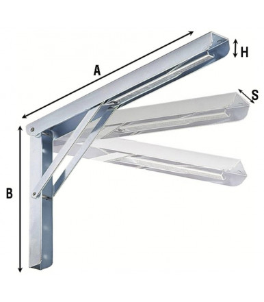 Aldeghi 3 steps folding bracket zinc plated steel 2534