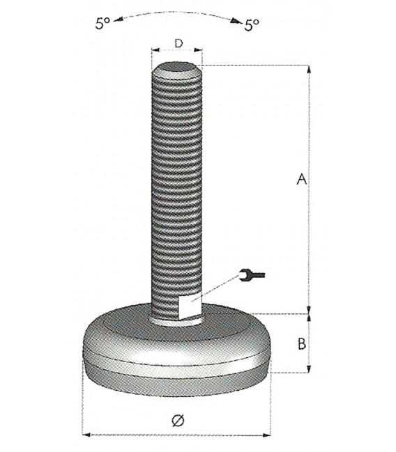 Piede regolabile igienico in acciaio inox Tipo M - NGI
