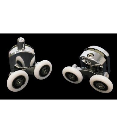 Guarnitura per cabina doccia con carrello snodato a doppia ruota in nylon con cuscinetto