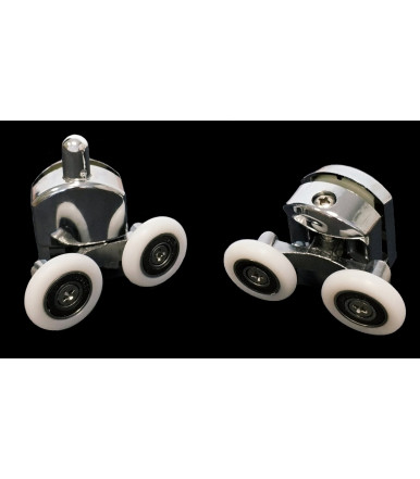 Pair of articulated carriages for shower box with double wheel with bearing