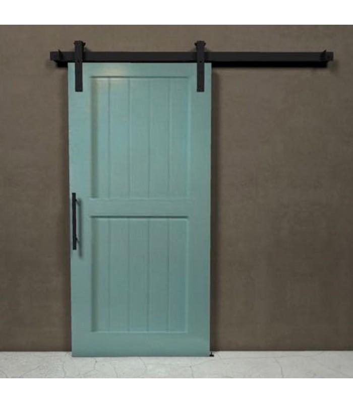 Kit per porta scorrevole esterno muro con binario 2 mt. in ferro ...