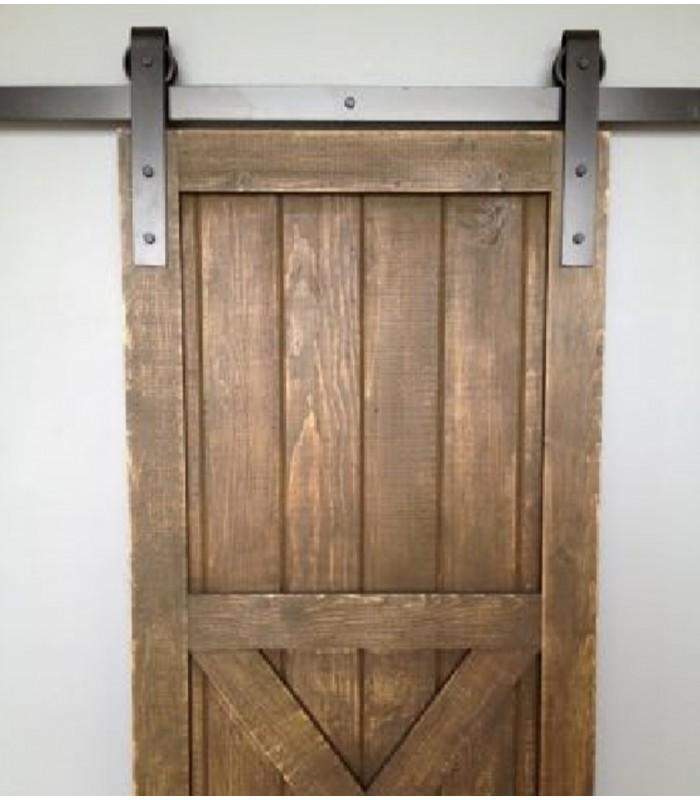 Kit per porta scorrevole esterno muro con binario 3 mt. in ferro rustico