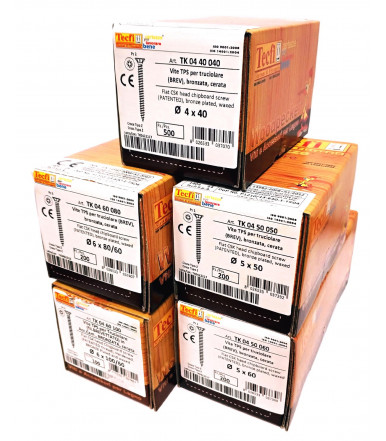Kit 6 Packungen, Senkkopf- Spanplattenschraube mit Fräsrippen, Kreuzschlitz Z, bronziert und mit Wachs