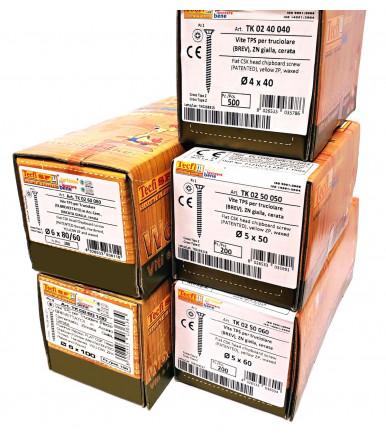 Kit 5 Packungen, Senkkopf- Spanplattenschraube mit Fräsrippen, Kreuzschlitz Z, gelb verzinkt und mit Wachs