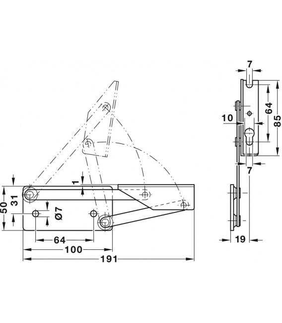 Braccio-cerniera per cassapanca, per ripiano in legno, con molla 643.01.525