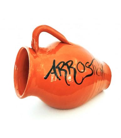 jarra en forma de ánfora de terracota para pinchos de la carne y Arrosticini