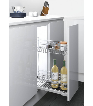 Inoxa 2102S Extractable basket with two shelves and bottle rack