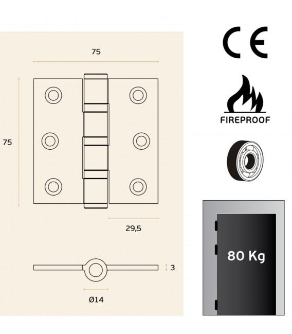 Cerniera acciaio inox 3 cuscinetti con angoli da 75x75 mm art. IN.05.021.075.CF JNF