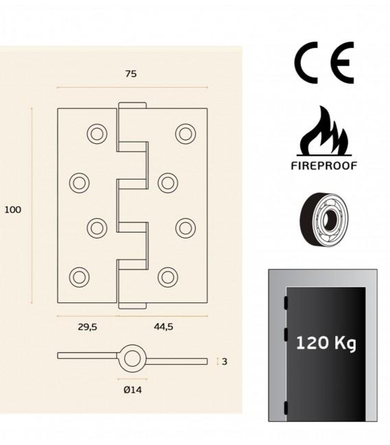 Charnière en acier inoxydable avec coins 100x75 mm - protection incendie art. IN.05.020.100.CF JNF