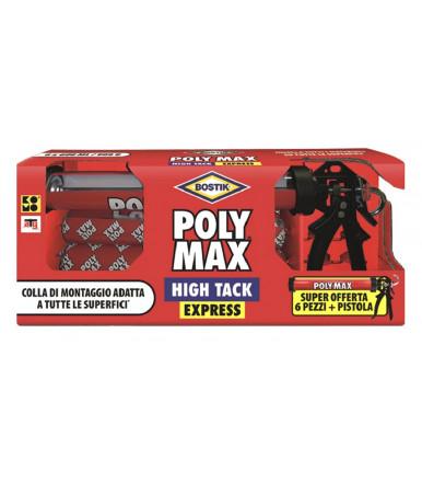 Bostik Poly Max XXL Promo Pack, 6 Stück Klebemittel und Dichtungsmasse im Wurstformat + Professionelle Pistol