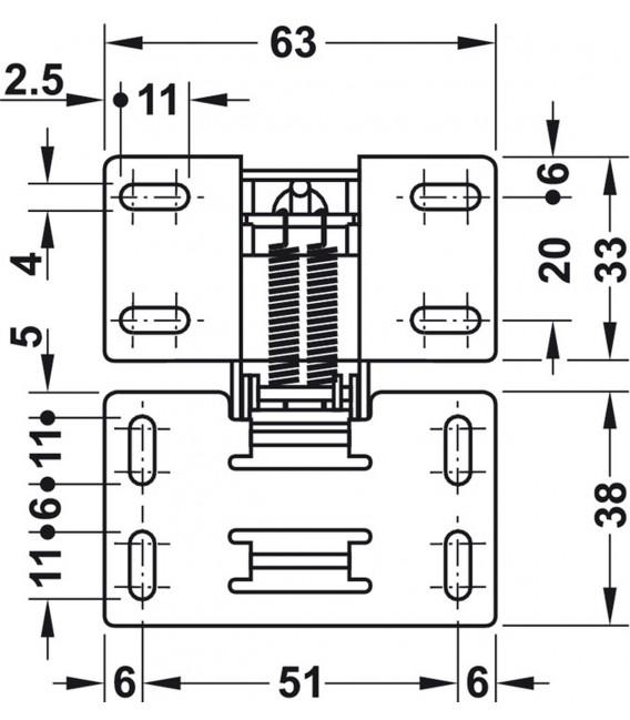 Cerniera 90° CH 600 con ammortizzatore per anta a ribalta fino a 2,1 kg 356.36.606