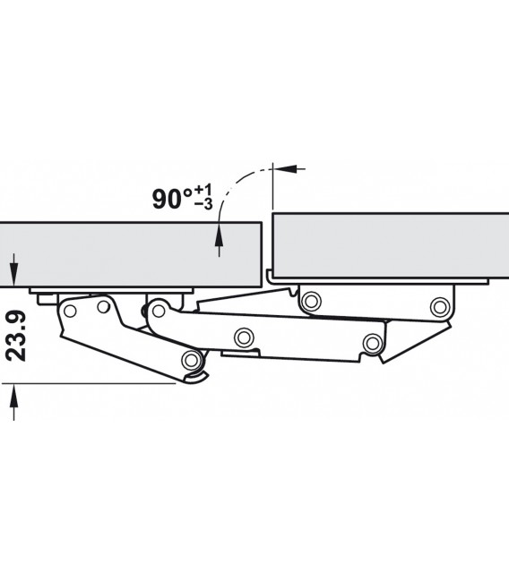 Cerniera 90° CH 300 con ammortizzatore per anta a ribalta fino a 2,1 kg 356.36.607