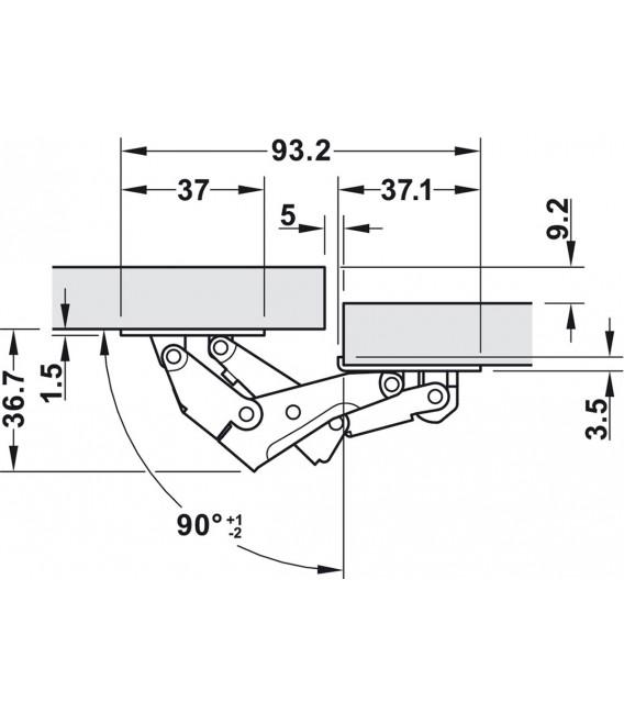Cerniera 90° CH 150 per anta a ribalta fino a 1,4 kg 356.36.608