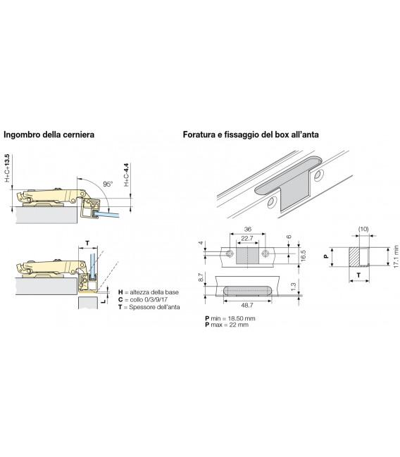 Ferrari Clip hinge, opening 95° with base for aluminium profile and door