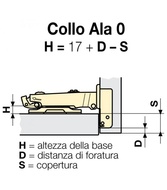 Ferrari Clip Flat hinge 35 mm with base for wooden door