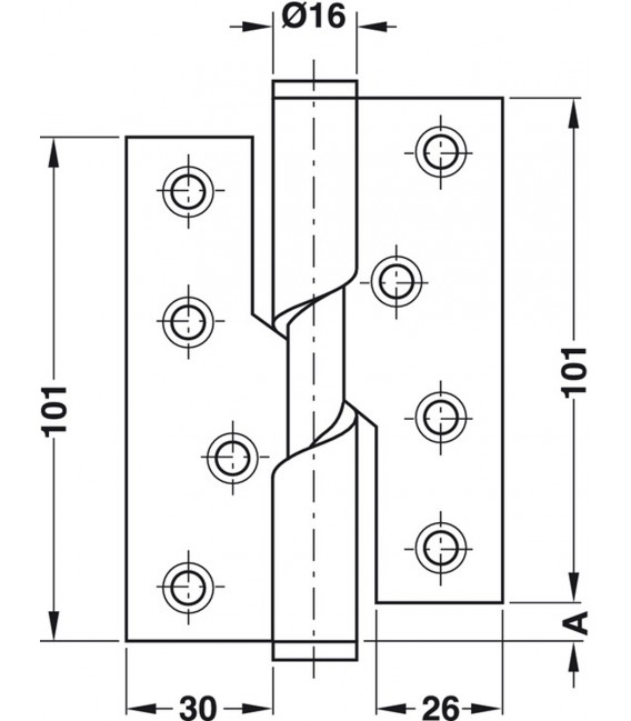 Butt Hinge Falling Stainless Steel 102x76 mm 926.26.203
