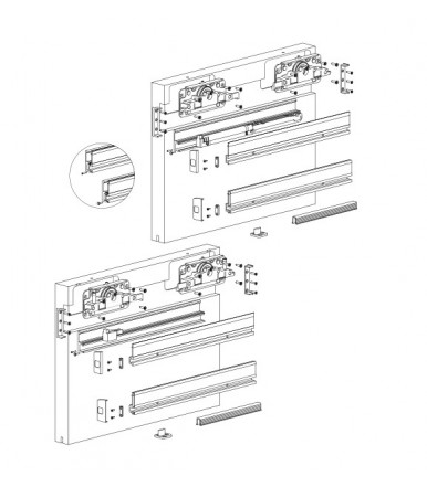Terno Scorrevoli DIVA AIR Sliding system Kit for wooden doors 80 kg.