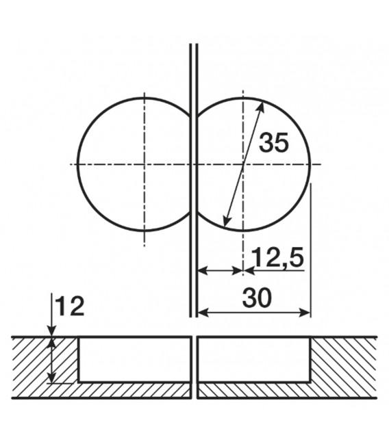 Cerniera nichelata per anta a ribalta MARKANT 11