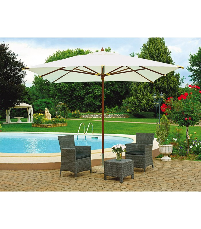 Parasol de jardin carré 3x3 mt avec mât central en bois