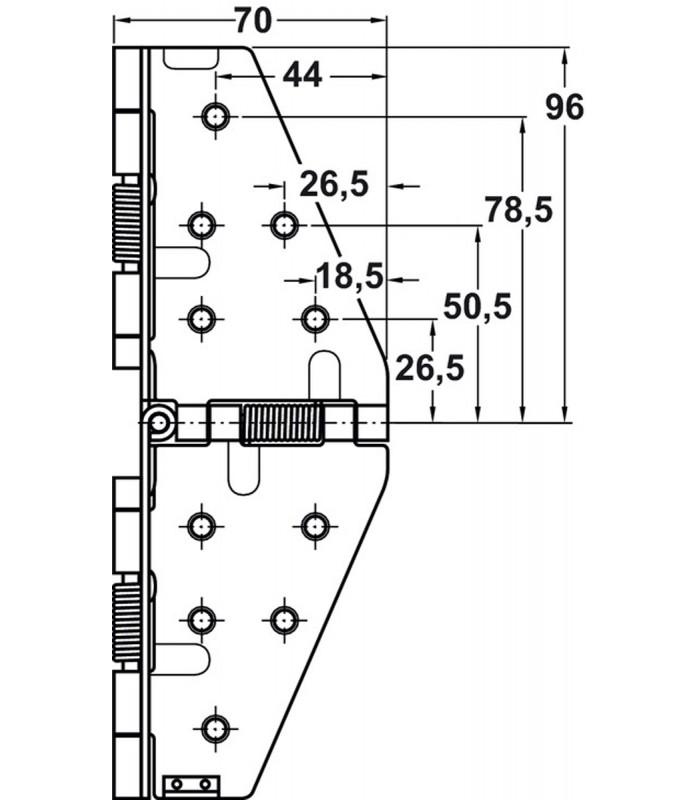 Cerniere Per Tavoli Allungabili.Cerniera Per Tavolo Estensibile A Ribalta Pieghevole Art 642 70