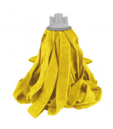 Floor mop with 100% microfibre double strings