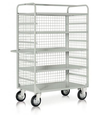 Carro, capacidad de carga 450 kg, 4 + 1 estantes, laterales de malla y ruedas Ø 200 mm en acero pintado C064