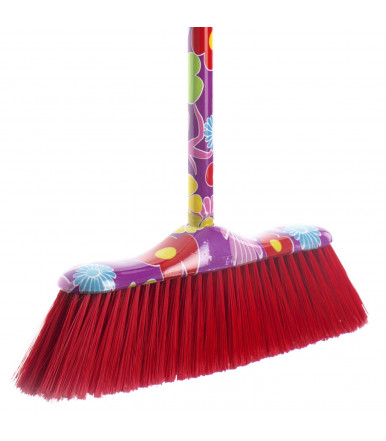 Indoor broom with handle, flower pattern