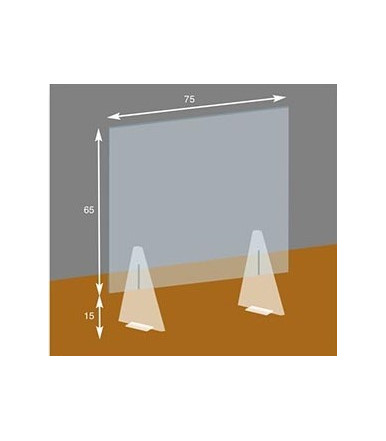 Self-supporting transparent barrier screen 75x80 cm