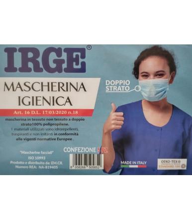 Pezzi 5 - Mascherina igienica facciale doppio strato IRGE non DPI