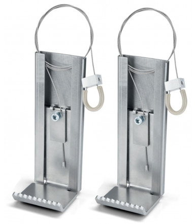 Pair of stainless steel pedal door openers for handle, NoHander N-1011 Assa Abloy