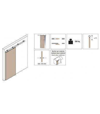 Koblenz Sliding Kit 0500/80 ABS for wooden doors