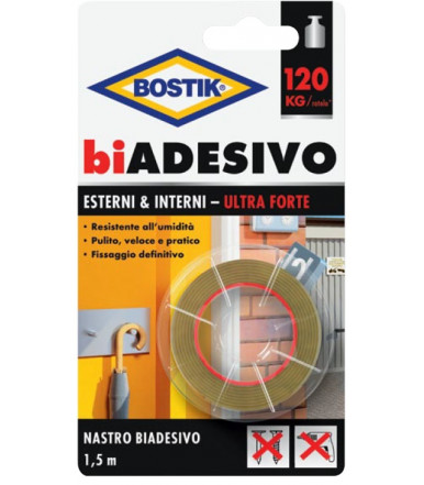 Bostik double-ADHESIVE Ultra Strong Exterior & Interior 1.5m tape Blister
