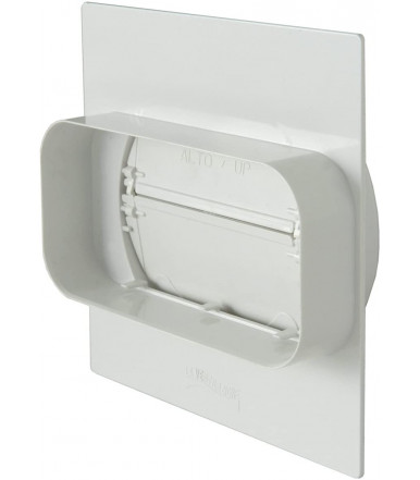 Plate for wall passage from round tube to rectangular tube with non-return valve and PMV157B gasket