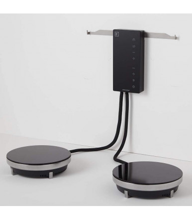 Electric induction hob or plate, in 2-burner glass ceramic, Fabita Ordine Black
