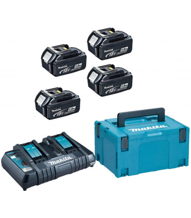 Makita 18V Energy Kit with double charger and four 5 Ah batteries