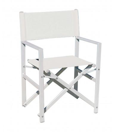 Folding Ecrù Sea Director chair in white aluminum - Regista