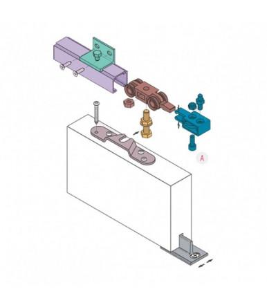 Kit Sistema scorrevole per porte portata 40/80 Kg con binario