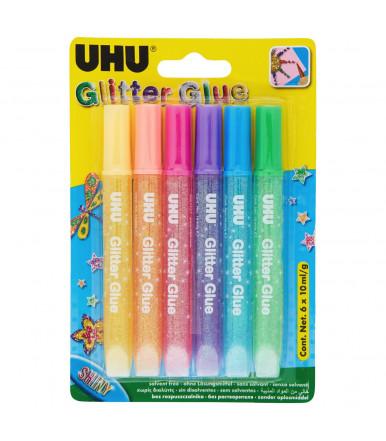 UHU Glitter Glue shiny - colored glitter glue in 6x10ml blister